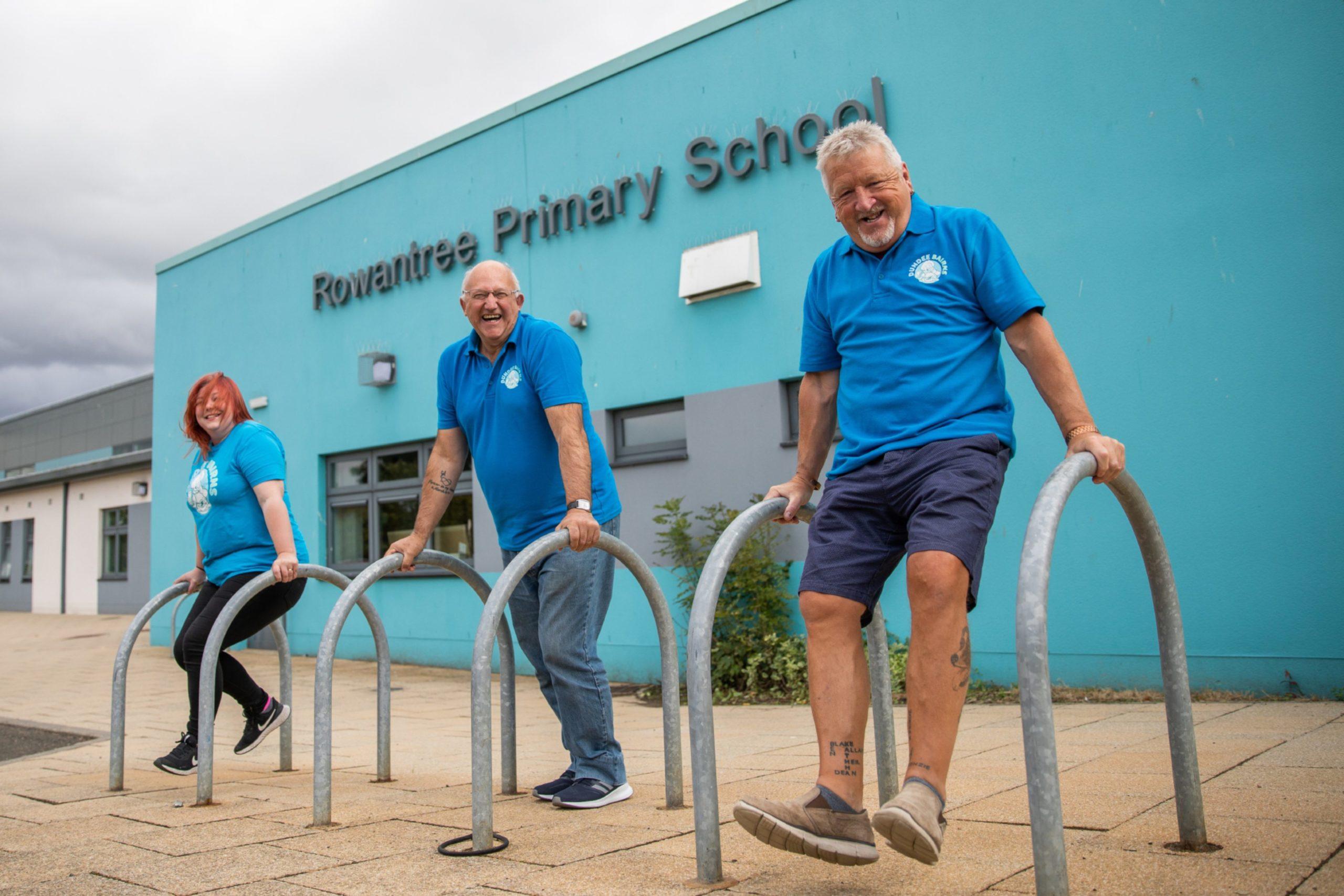 From left: coordinator Genna Millar, founder David Dorward and volunteer Ed Lawson, Rowantree Primary School.