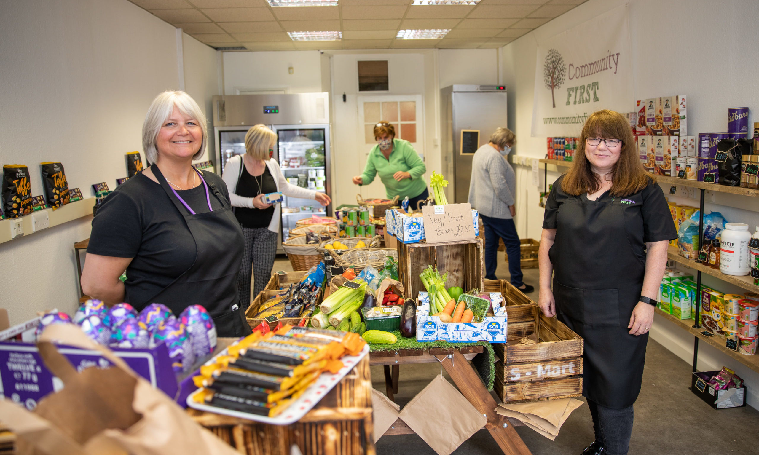 Pictured are Pauline Lockhart (left) and Carol Malone at the new S-Mart social supermarket
