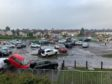 Staff cars piled up at Victoria Hospital in Kirkcaldy