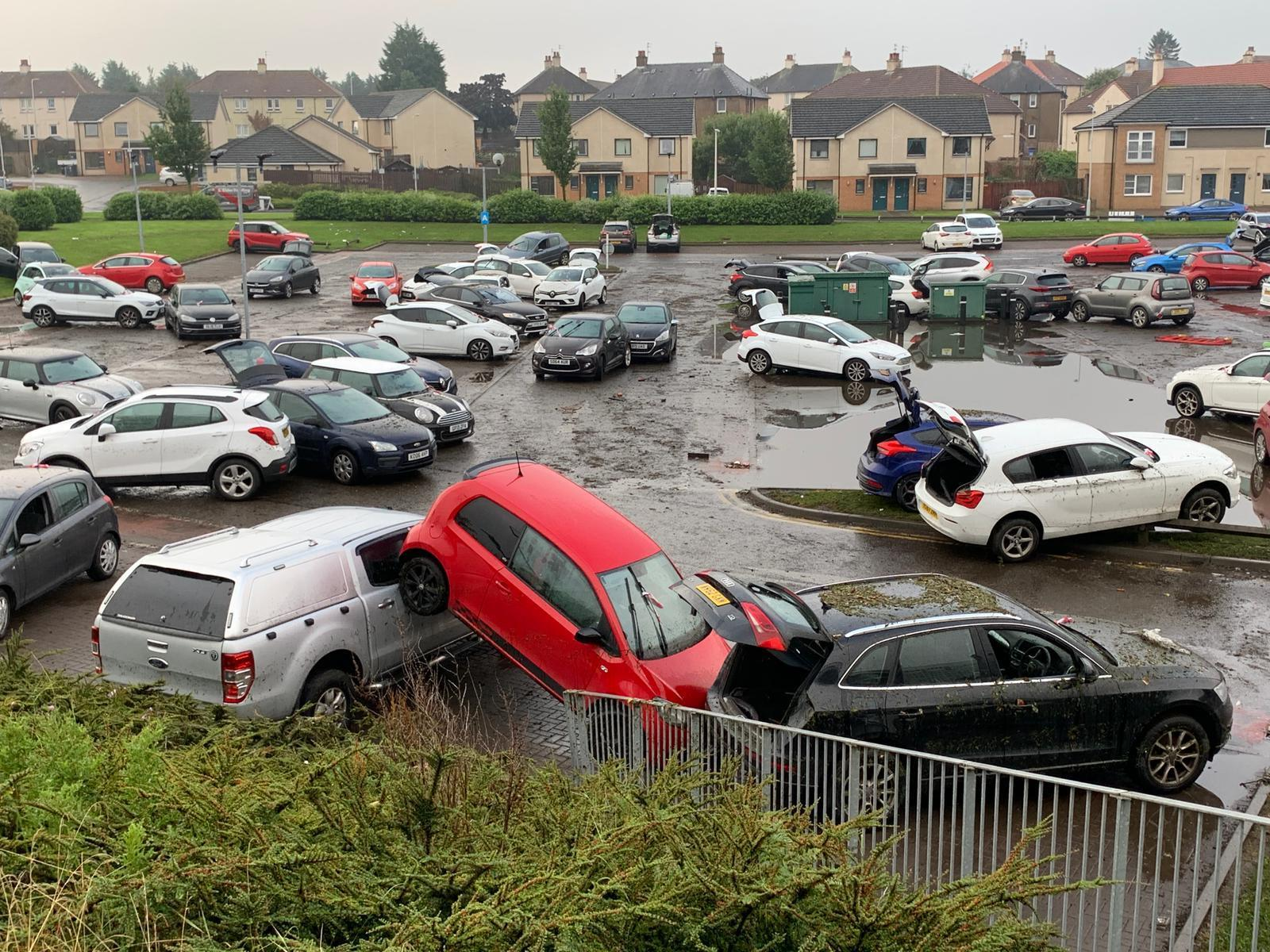 Cars have been written off in the Victoria Hospital car park, one of several incidents in Fife related to the weather.