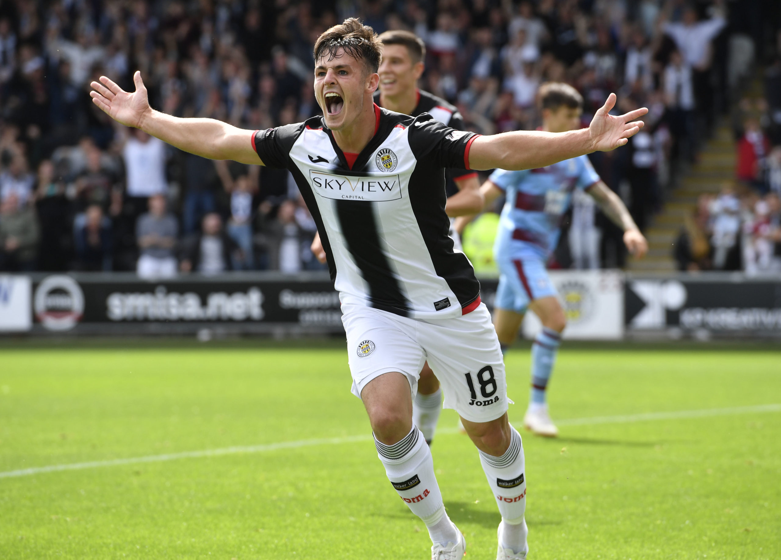 Danny Mullen scores for St Mirren against Dundee in 2018