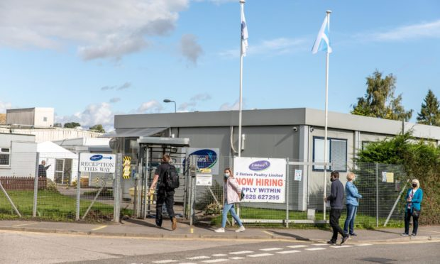 Workers return to 2 Sisters Factory in Coupar Angus on the first day of opening since COVID19 cluster closed them down.