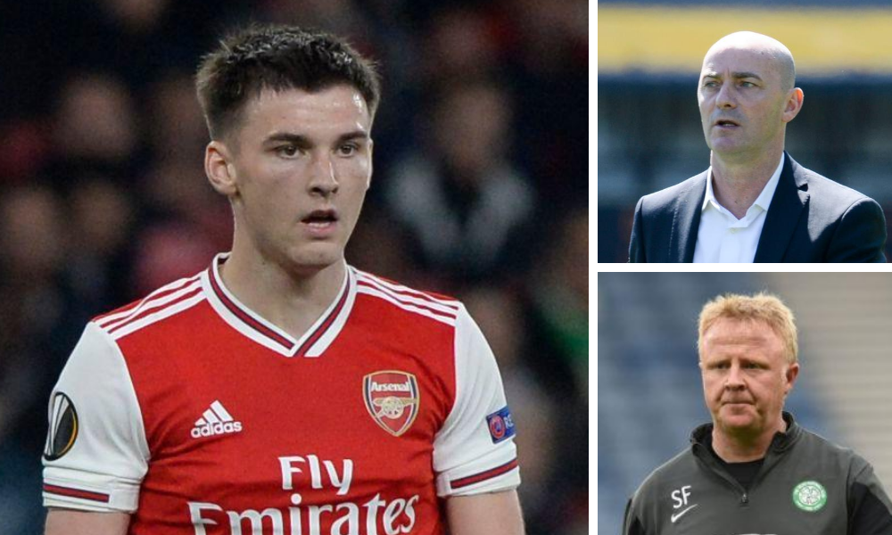 Kieran Tierney discussed Young (top right) and Frail in podcast interview.