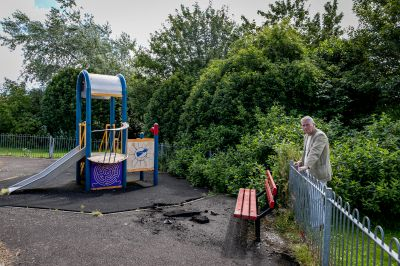 Councillor Craig Duncan at the play park, which has been blighted by vandalism.