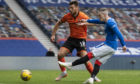 Ryan Kent scores for Rangers on Saturday.