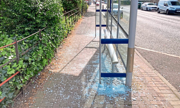 The damaged bus stop. Photo by DCT Media.
