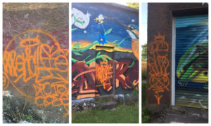Some of the vandalism at the buildlings at Clatto Reservoir. Photographs courtesy of Friends of Clatto.