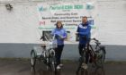 John Cairney, Fairfield Community Sports Hub Officer, and Alison MacKenzie, Community Sports Hub Officer at LACD, launching the forthcoming bike cub at Fairfield Community Sports Club.