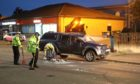 Evening telegraph/courier news CR000 G Jennings pics , 2 car crash on Arbroath road Dundee near Aldi &  Boars Rock pub, monday 21st september.