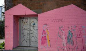 The graffiti appeared on the doorway in Methen Street