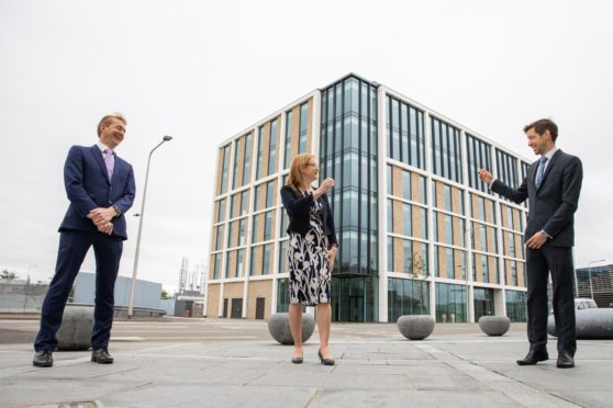 Chief Executive of Social Security Scotland, David Wallace, Cabinet Secretary for Social Security, Shirley-Anne Somerville and Leader of Dundee Council, John Alexander.