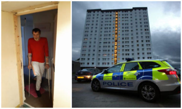 """Amputee Paul Matthew has described staying in Adamson Court in Lochee as a """"living hell""""."""