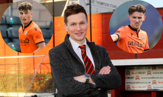 Dundee United academy director Andy Goldie (centre) and top talents Lewis Neilson (left) and Logan Chalmers.