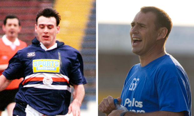 George Shaw in action for Dundee, left, and during his time as Forfar manager, right.