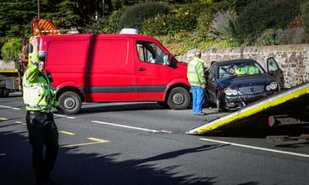 The crash which occurred at Monifieth Road on Thursday Morning.