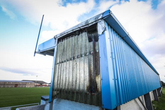 The Evening Telegraph, CR0024099, Lindsey Hamilton story, the Raymond Dyce stand was set on fire at Kirrie Thistle JFC. Picture shows; some of the damage done to the stand. Friday 25th September, 2020. Mhairi Edwards/DCT Media