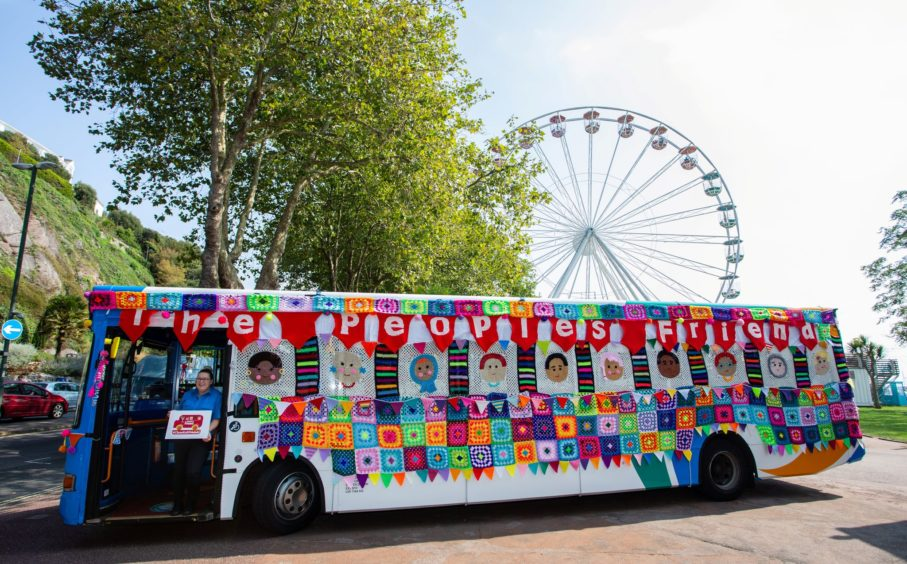 The yarn bus has proved a welcome visitor during its outings. Photo courtesy of Wire.