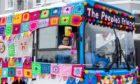 The People's Friend has launched its 'yarn bus' in conjuction with  the charity Re-engage and bus operator Stagecoach. The vehicle will make its final stop in Dundee this Saturday. Photo courtesy of Wire.