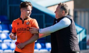 Dundee United attacker Logan Chalmers and boss Micky Mellon.