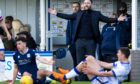 Dundee manager James McPake appeals for a free kick during Dundee's last meeting with Morton.