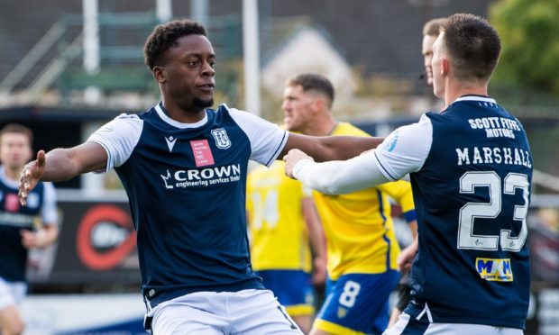 Dundee's Jonathan Afolabi (left) celebrates his goal with Jordan Marshall in the 1-0 win over Morton.