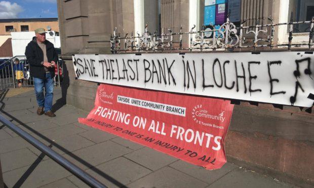 Unite members demonstrated outside the TSB branch last week.