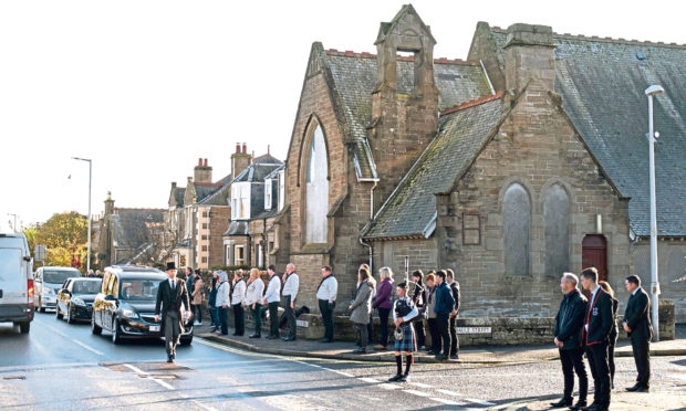 The procession for the funeral of Carnoustie community stalwart David Mackland. Picture by Paul Reid.