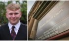 Euan Taylor, left, and Dundee Sheriff Court, right.