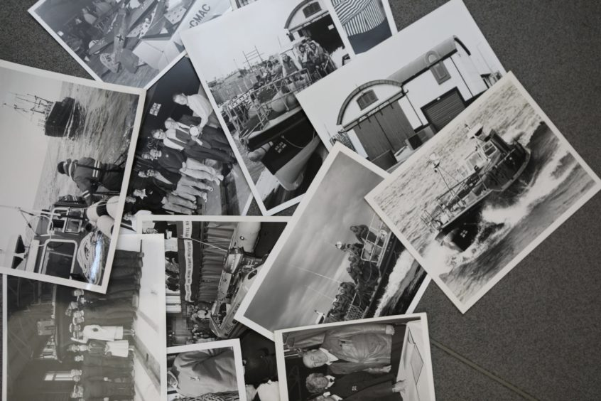 Some of the old photos that have been gathered together at the Arbroath Lifeboat Shed.