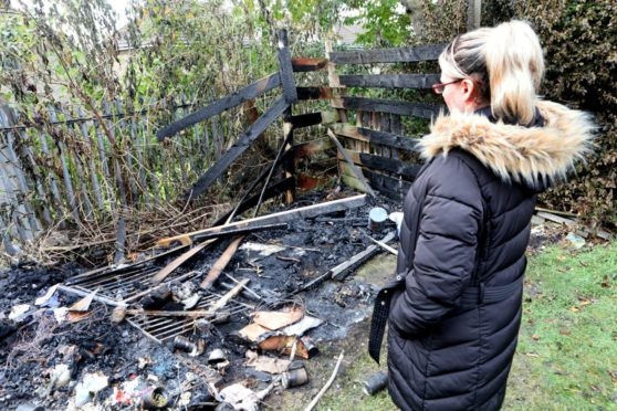 Rosey Cunningham looks at the damage to her shed and playshed which was set on fire in the early hours of the morning in her back garden.