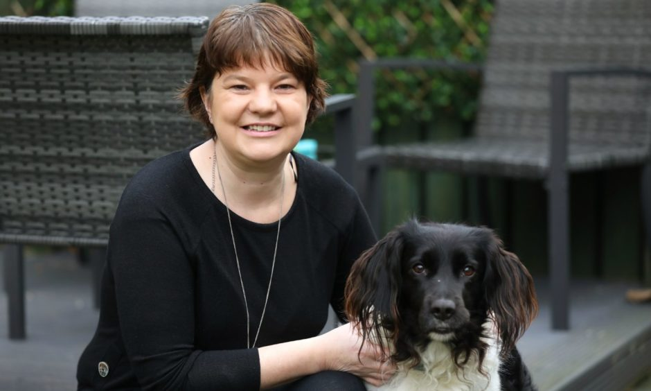 Susan Millar (37) from Carnoustie is talking about her diagnosis of stage two breast cancer as part of Breast Cancer Awareness Month, with dog Baillie