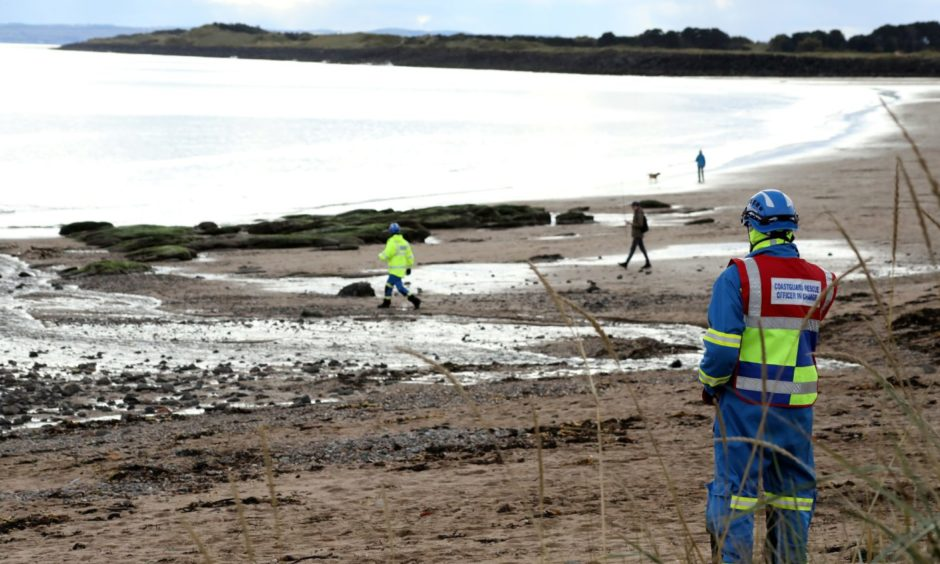 Emergency services have been called to Carnoustie Beach amid reports of an explosive.