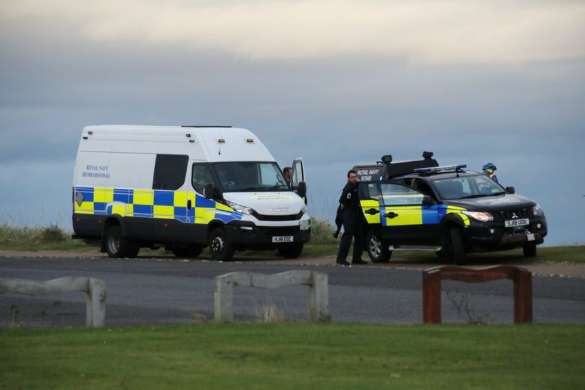 Police, the UK Coastguard and an EOD team were called to Carnoustie Beach.