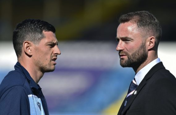 Dundee's Graham Dorrans (L) and manager James McPake were team-mates at Livingston.