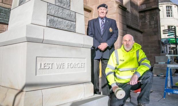 John Sime, Derek Main and others creating a new war memorial at the back of St John's Kirk in Perth. Photo by Kim Cessford/DCT Media
