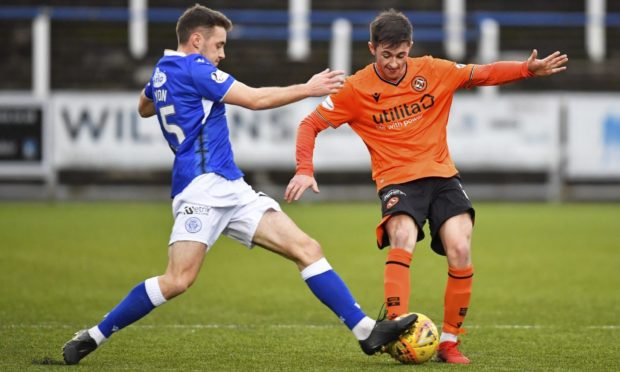 Dundee United youngster Declan Glass in action against Queen of the South last season.