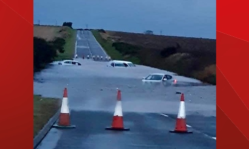 Previous flooding of the A92 between Montrose and Arbroath after heavy rain.