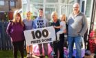 Kenny and family members at the end of his challenge including his aunt Gail Rattray, second from left, and his grandad Don McIvor.
