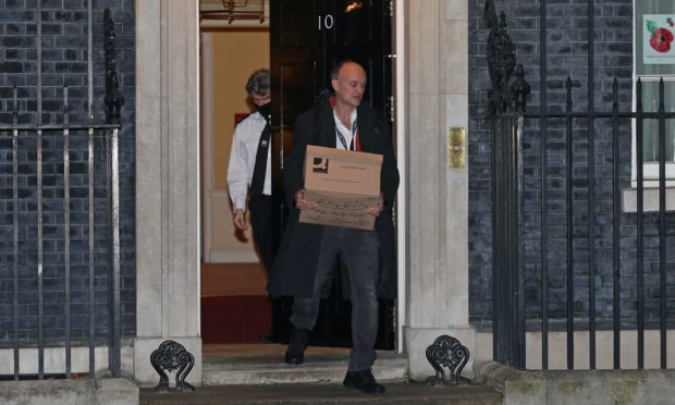 Dominic Cummings leaving Number 10 on Friday evening.