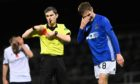 Cove Rangers' Blair Yule is red carded at Dens Park.
