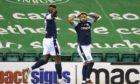 Dundee's Alex Jakubiak has a goal disallowed at Hibs.