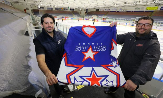 Omar Pacha, General Manager/Head Coach of the Dundee Stars, and Michael Ward - Commercial and Community Manager of the club, with one of the first retro Dundee Stars jerseys.