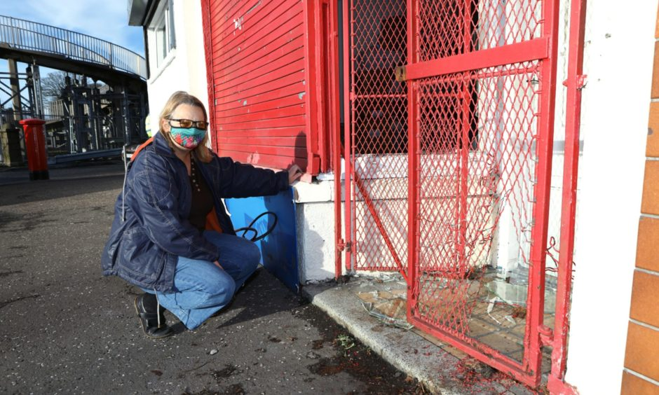 Siobhan Tolland at the scene of the break-in at the Dundee Thegither foodbank on Kingsway East.