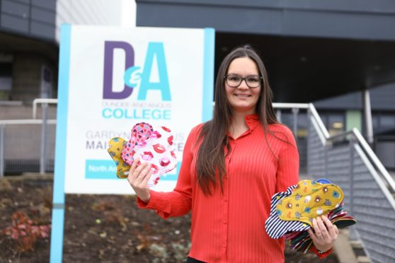 Tatiana Zorina - period poverty officer, with some of the students hand made period products, which will be sent to college students in Kenya.