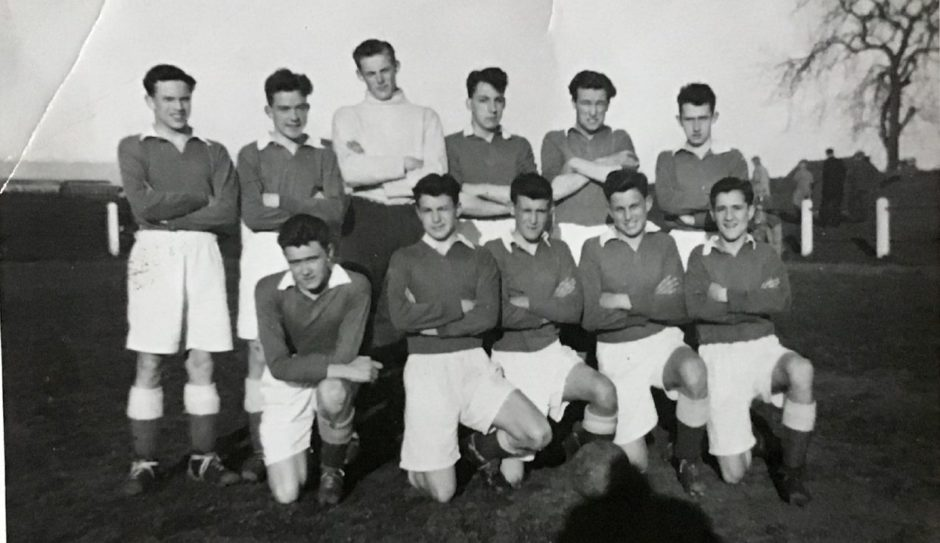 Jim Melville is the goalkeeper in this 1950 photo of Ashdale Boys Club.