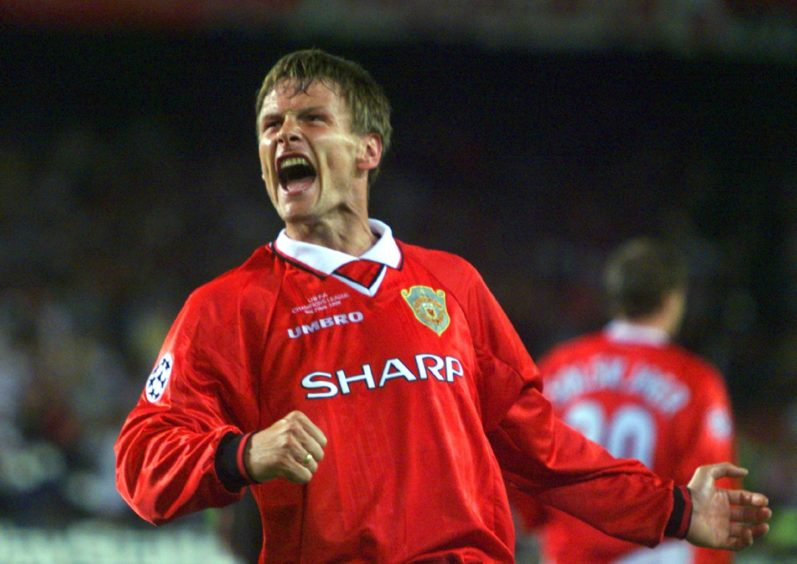 Teddy Sheringham celebrates scoring equaliser for Manchester United in Champions League Final win over Bayern Munich in 1999.