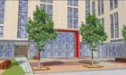 An artists impression of how one of the entrances to the halls could look.