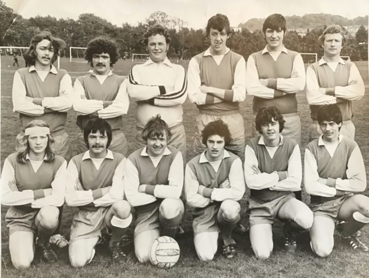 Dundee Sunday Welfare AFA side Taxis AFC, from around 1976/77. Back row (from left) - Neil Ross, Doug McGinlay, Peter Heggie, Lyell Mitchell, Jimmy Don, John Ritchie. Front row - Dave Halliburton, Colin McGinlay, Ian Vaughan, Bobby Gibb, Phil Brown, Neil Crawford.