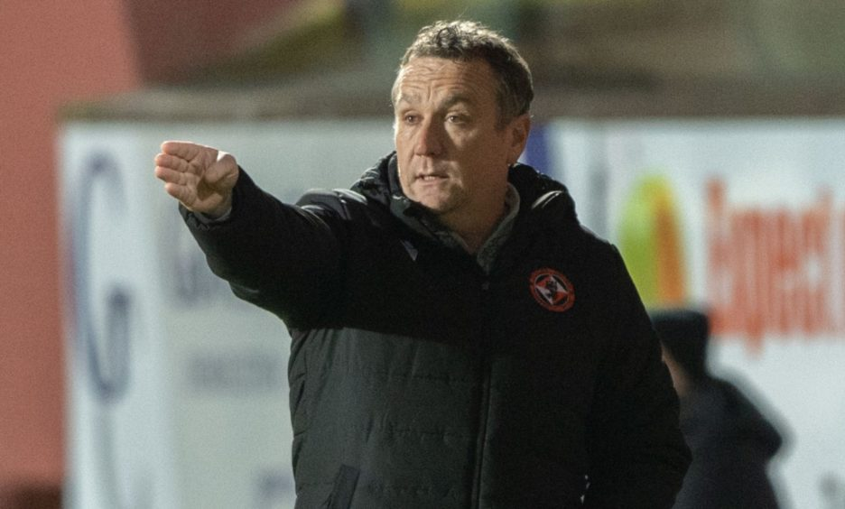 Boss Micky Mellon returns to the touchline for Dundee United tomorrow.