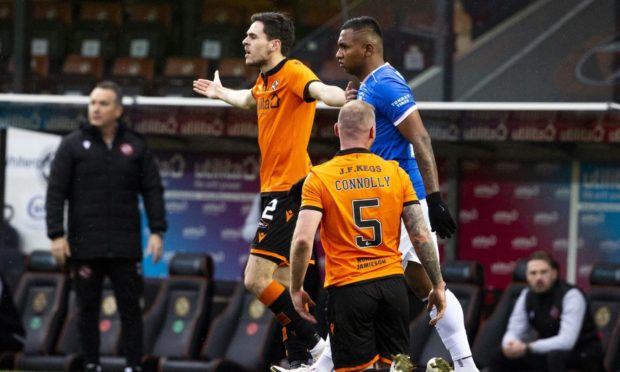 Mark Connolly after being fouled by Alfredo Morelos.